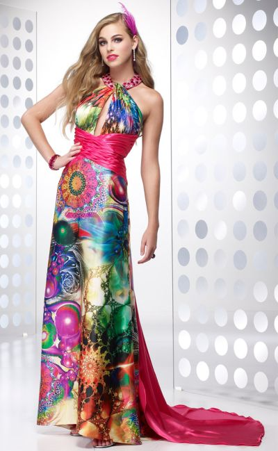 Bright Psychedelic Print Halter Prom Dress Alyce Designs 6626 ...