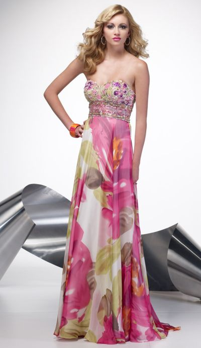 Pink Floral Chiffon Dresses