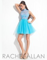 Rachel Allan 6628 Short Tulle Party Dress with Lace image