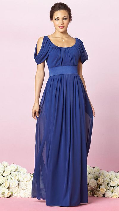 After Six Draped Sleeve Long Bridesmaid Dress 6638 By