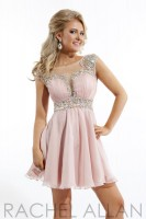 Size 4 Blush Rachel Allan 6645 Cap Sleeve Short Homecoming Dress image