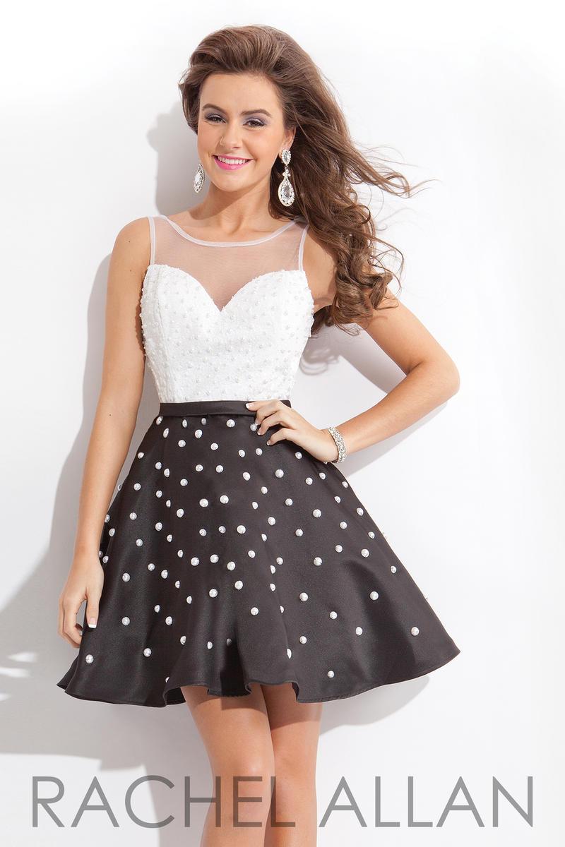 Rachel Allan 6648 Polka Dot Pearls Short Dress French Novelty