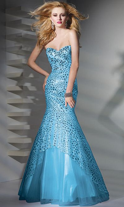 Alyce Paris Sequin Lace-Up Mermaid Prom Dress 6707: French Novelty