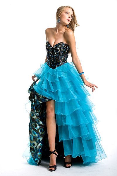 Party Time Peacock Print Organza Ruffle Prom Dress 6707