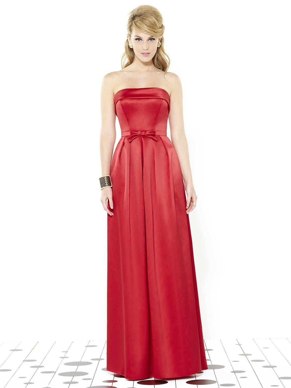 After Six 6720 Long Satin Bridesmaid Dress French Novelty