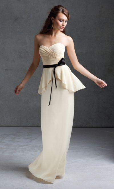 Mori Lee 673 Chiffon Bridesmaid Dress With Peplum