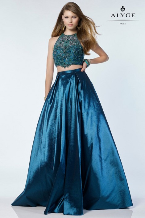 Alyce Paris 6739 Lace Halter Top 2 Piece Prom Dress: French Novelty