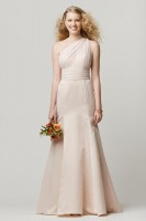 Size 12 Ice Pink Wtoo 674 One Shoulder Bridesmaid Gown image