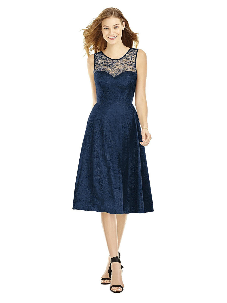 After six 6750 lace midi length bridesmaid dress french for Midi length wedding dress