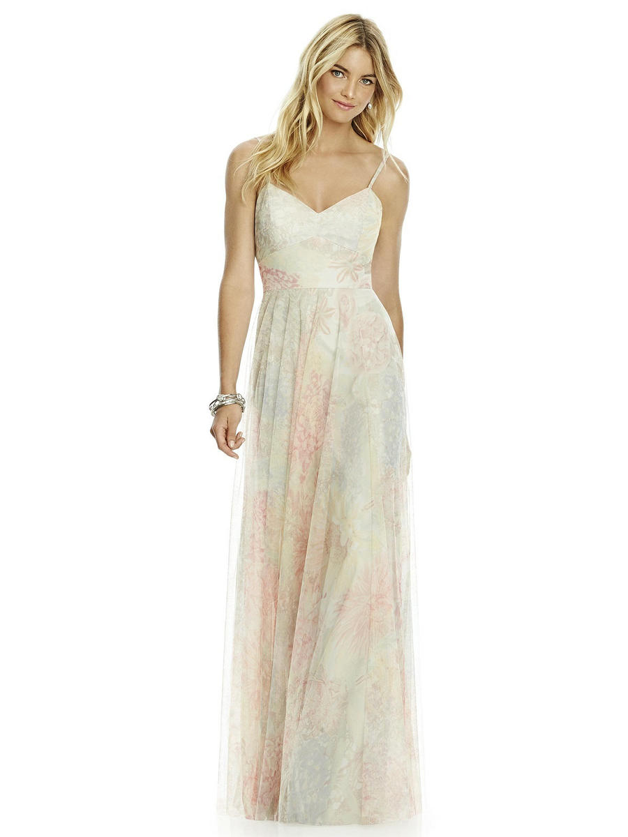 After Six 6766PRNT Soft Print Bridesmaid Dress: French Novelty