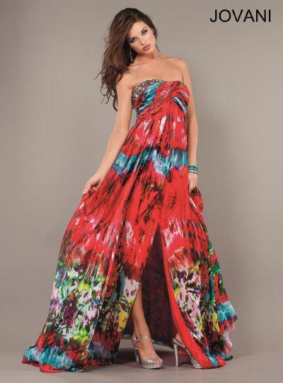 Jovani Tie Dye Print Evening Dress 6768 French Novelty