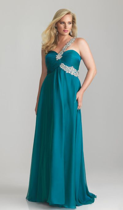 Night Moves 6778W One Strap Plus Size Formal Dress: French Novelty
