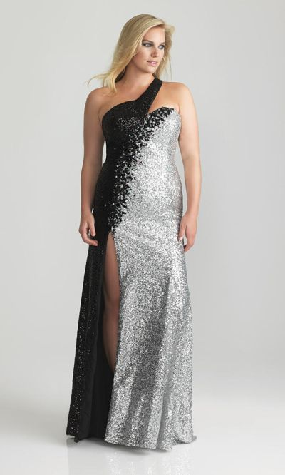 Night Moves 6784W One Shoulder Sequin Plus Size Gown: French Novelty