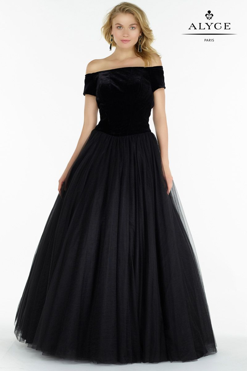 Alyce Paris 6793 Velvet Off The Shoulder Ball Gown French