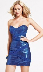 f545374e866 Size 2 Royal Blue Faviana Trendy Sequin Cocktail Dress 6816