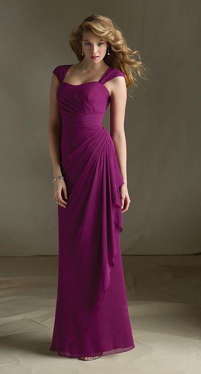 Mori Lee 683 Cap Sleeve Bridesmaid Dress: French Novelty