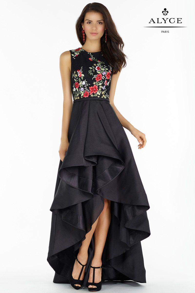 Alyce Paris 6830 Jeweled Waist Ruffle Mikado Gown: French Novelty