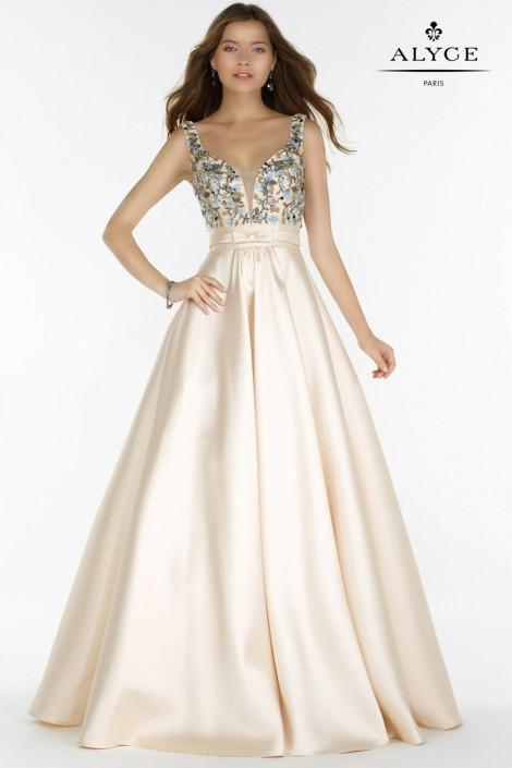 Alyce Paris 6834 V Neck Mikado Ball Gown: French Novelty