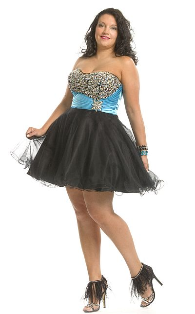 Party Time Plus Size Tulle Short Prom Party Dress 6843: French Novelty