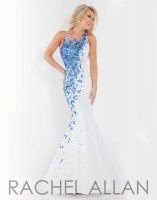 Size 4 White-Royal Rachel Allan 6868 Mermaid Prom Dress image