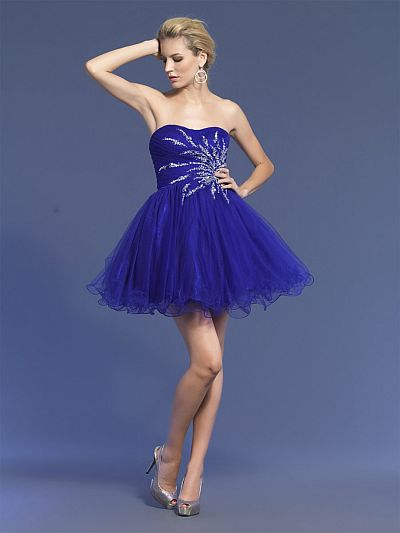 Dave and Johnny Strapless Purple Short Prom Dress 6908: French Novelty