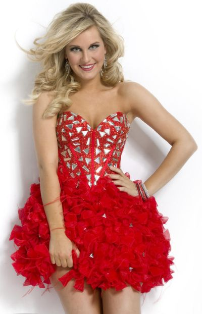 Party Time 6908 Short Homecoming Dress with Feathers: French Novelty
