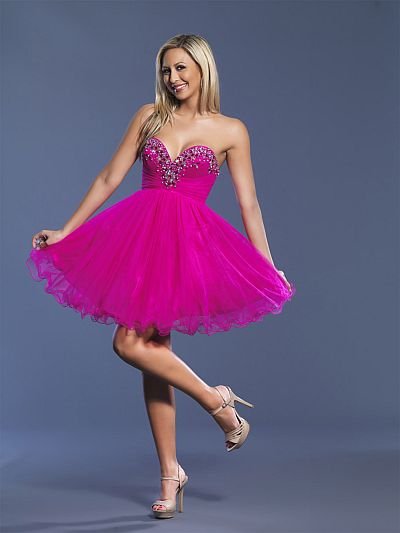 Dave and Johnny Fuchsia Short Tulle Prom Dress 6912: French Novelty