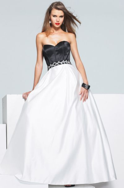 Faviana Black and White Ball Gown Prom Dress 6912: French Novelty