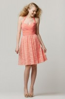 Size 12 Coral Wtoo 693 Halter Lace Short Bridesmaid Dress image