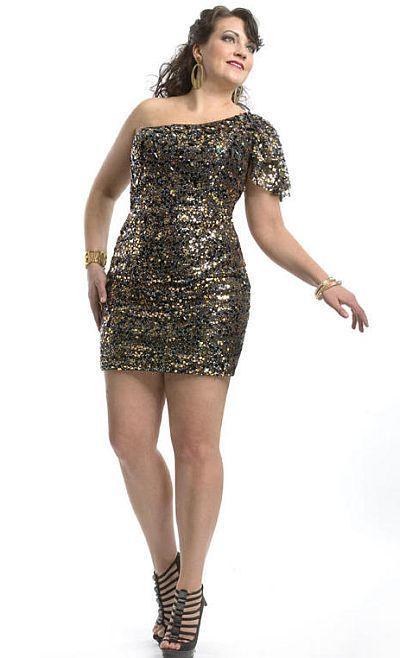 Party Time 6958 Plus Size Sequin One Shoulder Cocktail Dress ...