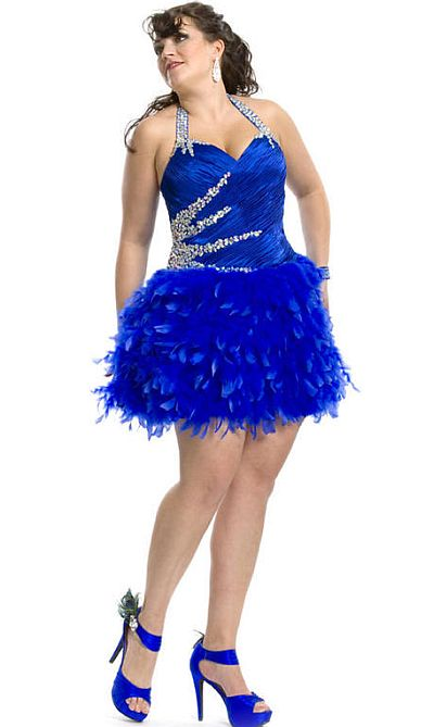 Party Time 6960 Plus Size Homecoming Dress with Feathers: French ...
