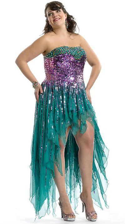 Party Time 6969 Plus Size High Low Evening Dress: French Novelty