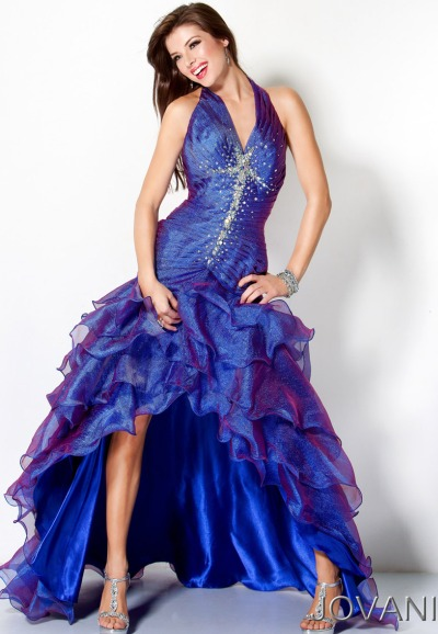 Jovani Purple Royal Blue Long Halter Ruffle Prom Dress 70110 ...