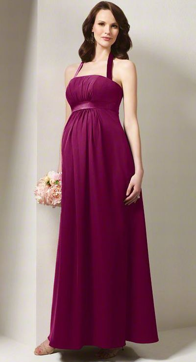 Pregnancy Bridesmaid Dresses on Alfred Angelo Long Halter Maternity Bridesmaid Dress 7016ma Image