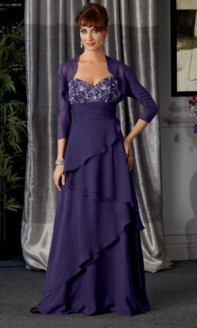 Caterina 7021 Tiered Chiffon Mother of the Bride Dress: French Novelty