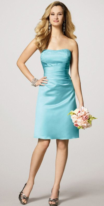 Alfred Angelo Short Satin Bridesmaid Dress with Lace-Up Back 7027S ...