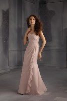 Mori Lee 703 Long Bridesmaid Dress with Ruffle image
