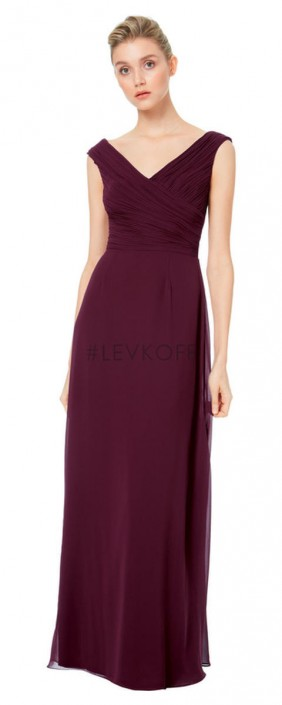 a7014a252b8e5 #Levkoff by Bill Levkoff 7043 Wide V Neck Bridesmaid Dress: French Novelty
