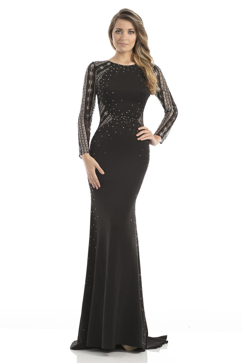 Johnathan Kayne 7046 Long Sleeve Stretch Gown French Novelty