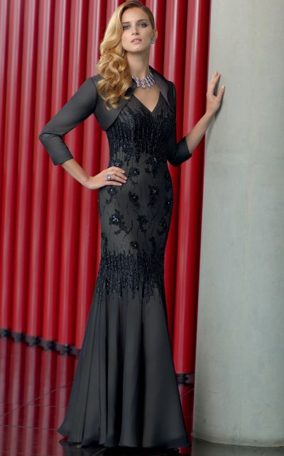 Vm Collection Black Gold Beaded Mother Of The Bride Dress