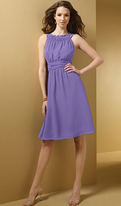 Alfred Angelo Ruffle Neck Chiffon Short Bridesmaid Dress 7053