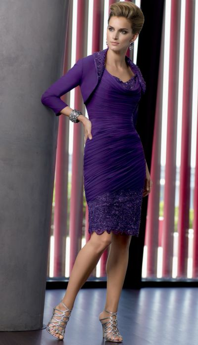 e7c3ca5258 VM Collection Jersey Knee Length Mothers Dress with Lace 70530  French  Novelty