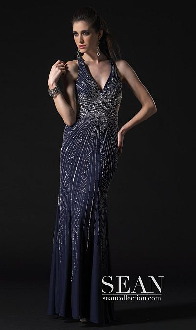 Prom Dresses 2012 Sean Couture Navy Silver Gown 70571 French Novelty