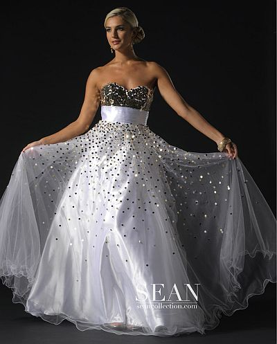 Sean Couture White Sequin Prom Ball Gown 70578: French Novelty