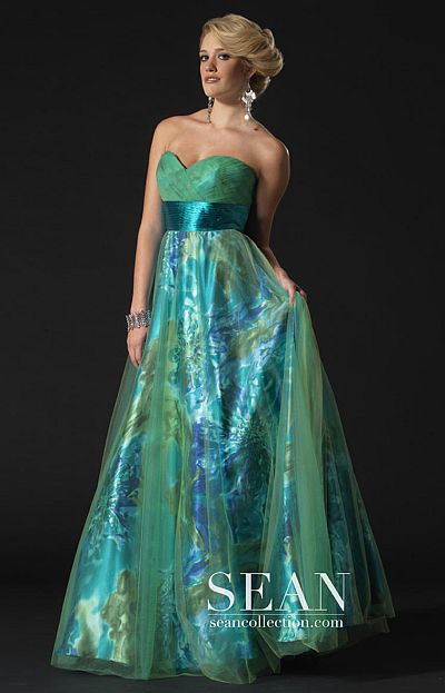 sean couture green print ball gown for prom 70580 french