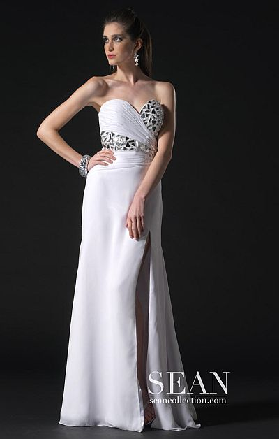 Sean Couture White Silver Prom Dress with Detailed Stonework 70589 ...
