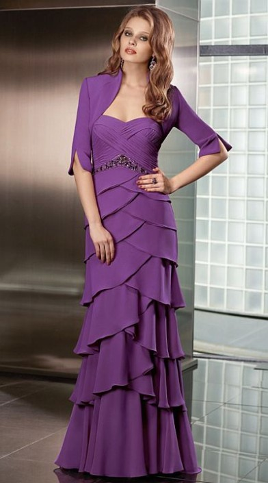 7c71957a7e0 VM Collection Chiffon Tiered Evening Dress 70609 with Jacket  French Novelty