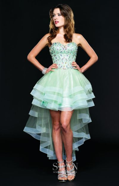 Sean Couture 70687 High Low Sheer Party Dress French Novelty
