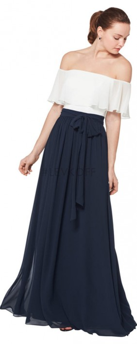 fb8fd39825a3 #Levkoff 7074 Off Shoulder Ruffle Bridesmaid Dress: French Novelty