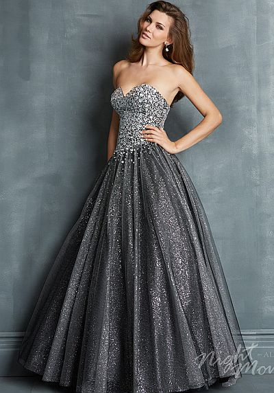 Night Moves 7089 Sparkling Tulle Ball Gown French Novelty